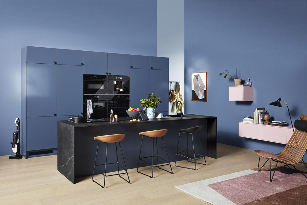 Trend Blue Grey K01 full view of kitchen without people 00659
